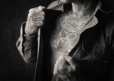 bw study of chest tattoos